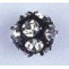 Rhinestone Bead 10mm Round Black/Crystal